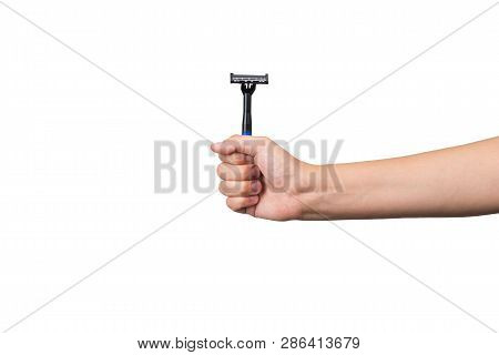 Small Cheap Plastic Razor Blade In The Hand Isolated