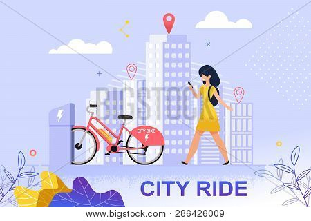 Flat Banner City Ride Red Bicycle Parking Lot. Vector Illustration. Happy Girl In Yellow Dress Walks