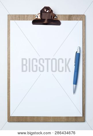 Wooden Clipboard With White Sheet On Isolated On White Background