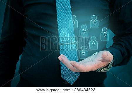 Customer Service And Care,care For Employees,marketing Niche Segmentation Concepts Man Holding Peopl