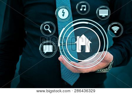 Smart House Concept. Artificial Intelligence In Use In Smart Homes.intelligent House, And Home Autom