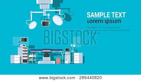 Hospital Operating Table Clean Medical Surgery Room Intensive Therapy Modern Equipment Clinic Horizo