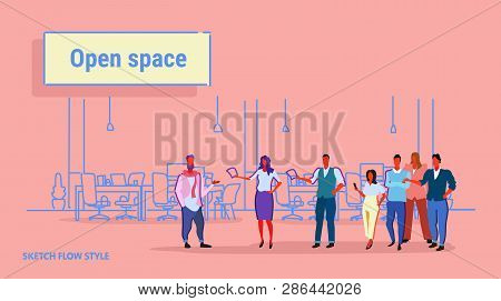 Business People Meeting Conference Creative Open Space Office Workplace Co-working Center Modern Wor