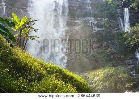 Waterfall Rock View Close Up. Mountain River Waterfall Landscape. Waterfall River Scene