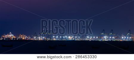Container Cargo Ship And Cargo Plane With Working Crane Bridge In Shipyard During Sunrise,logistic I