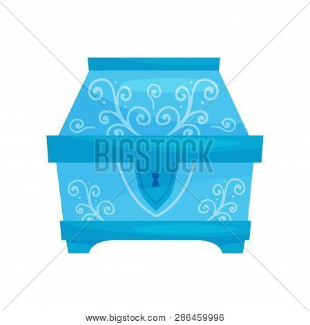 Flat Vector Icon Of Closed Bright Blue Chest With Ornaments. Small Casket For Jewelry. Storage Box