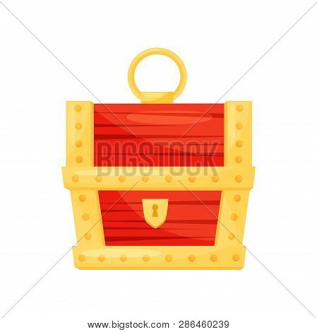 Bright Red Wooden Chest With Golden Stripes, Keyhole And Handle. Casket For Jewelry. Flat Vector Ico