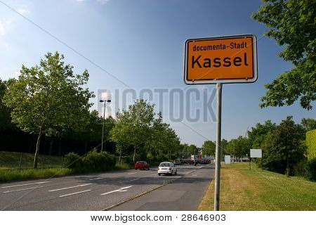 Common city entrance sign of Kassel, Germany