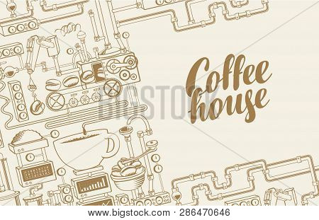 Vector Banner On Coffee Theme With A Cup Of Freshly Brewed Drink, Plant With Conveyor Coffee Product