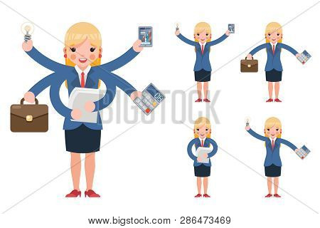 Multitasking Businesswoman Cute Young Professional Effective Office Management Cartoon Characters Se