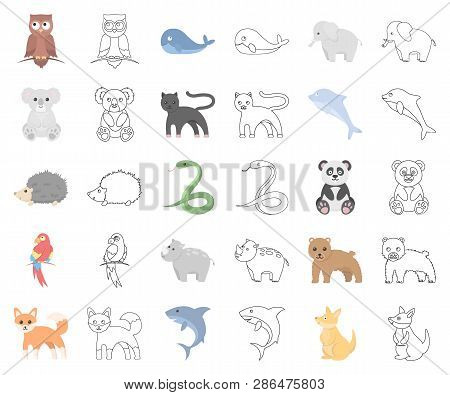 An Unrealistic Animal Cartoon, Outline Icons In Set Collection For Design. Toy Animals Vector Symbol