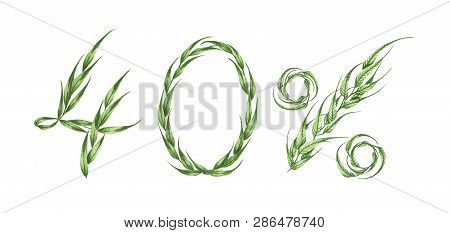 40% Text, Forty Percent From Green Leaves, Green Percent,isolated On White Background. Watercolor I