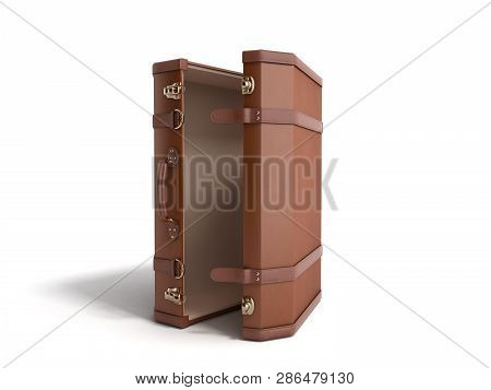 Open Vintage Suitcase 3d Render On White Background