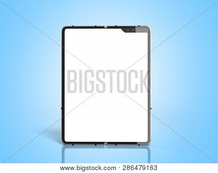 Modern Flexible Smart Phone White Screen For Mockup 3d Render On Blue