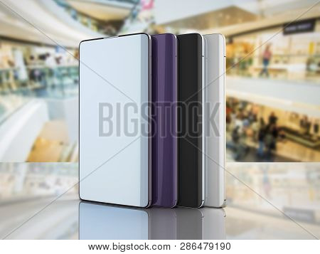 Modern Full Screen Smart Phones Random Color 3d Render On Sale Background