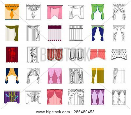 Different Kinds Of Curtains Cartoon, Outline Icons In Set Collection For Design. Curtains And Lambre