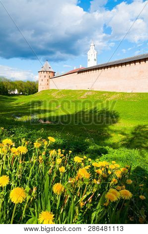 Veliky Novgorod, Russia. The Metropolitan Tower and Clock Tower of Veliky Novgorod Kremlin, selective focus at the landmarks poster