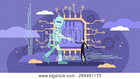 Ai Ethics Vector Illustration.flat Tiny Robot Relationship Persons Concept.computer Intelligence Beh