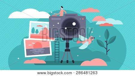 Photographer Occupation Vector Illustration. Flat Tiny Camera Picture Person Concept. Professional D