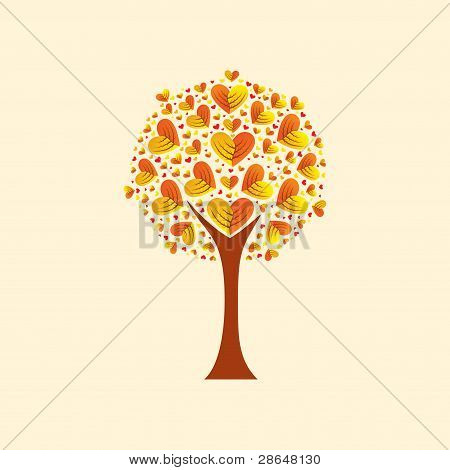 Tree with heart-shaped leaves, vector illustration