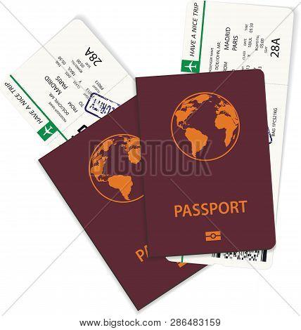 Vector Green Airline Passenger And Boarding Pass Tickets Inside International Passport. Boarding Pas
