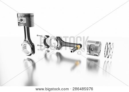 3d Rendering. Engine Piston With Piston Rings. Truck Pistons On Grey Background. Pistons And Piston