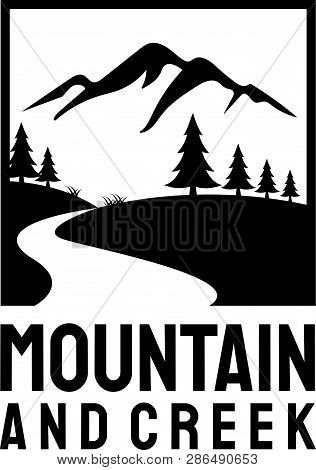 Black Mountain Nature With River Circle Vintage Company Logo Stamp