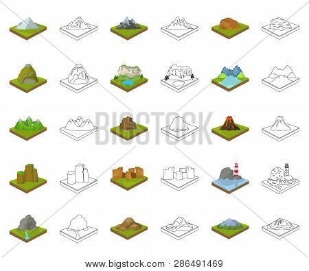 Mountains, Massive Cartoon, Outline Icons In Set Collection For Design. The Surface Of The Earth Vec