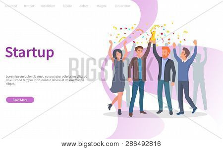 People Celebrating Success Of Company Vector, Achievement Of Results. Confetti And Prize, Triumph Of