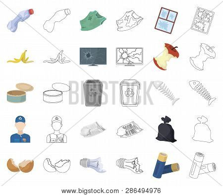 Garbage And Waste Cartoon, Outline Icons In Set Collection For Design. Cleaning Garbage Vector Symbo