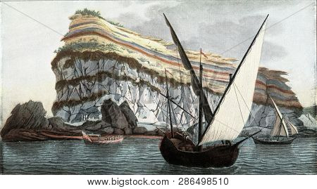 Cape Misene near Naples, stratifications of tuff on a trachyte base, vintage engraved illustration. From the Universe and Humanity, 1910.