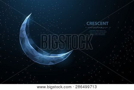 Vector Crescent Moon. Abstract Polygonal Wireframe On Dark Blue Night Sky Background. Night Symbol.