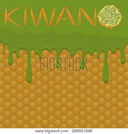 Illustration On Theme Falling Runny Kiwano Drip At Sugary Waffle Cookie. Kiwano Pattern Consisting O