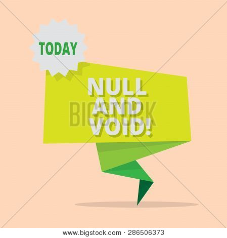 Handwriting text writing Null And Void. Concept meaning Cancel a contract Having no legal force Invalid Ineffective. poster