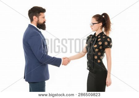 We Have A Deal. Partnership In Business. Man And Woman Shaking Hands. Bearded Man And Sexy Woman. Bu