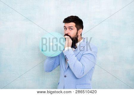 Man Groom Blue Tuxedo Bow Tie Hold Air Balloon. Wedding Fun. Groom Bearded Hipster Having Fun With A