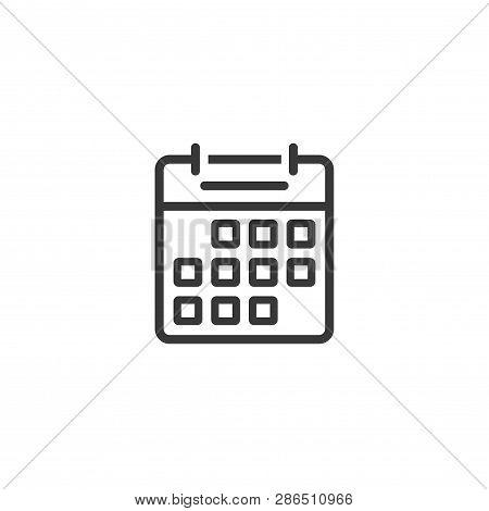 Calendar Icon Line Outline Vector Design Isolated On White, Black And White Almanac Symbol Clipart