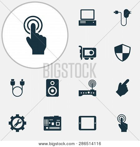 Device Icons Set With Charger, Adapter, Cursor And Other Hardware Elements. Isolated Vector Illustra