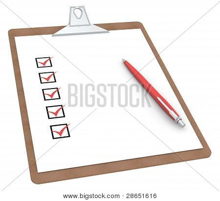 Clipboard With Checklist X 5 And Pen.