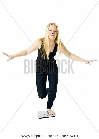Girl On Weight Scale