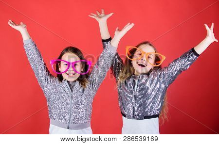 Feeling Joy And Happiness. Happy Small Girls Enjoy Happiness. Little Children Happy Smiling At Party