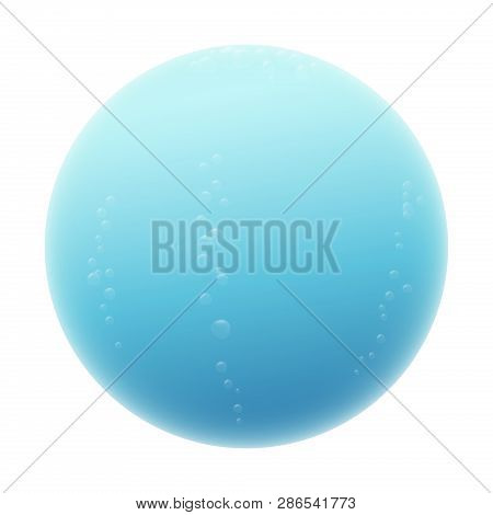 Water Sphere. Blue Misty Ball With Some Bubbles. Isolated Vector Illustration On White Background.
