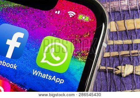 Helsinki, Finland, February 17, 2019: Whatsapp Messenger Application Icon On Apple Iphone X Smartpho