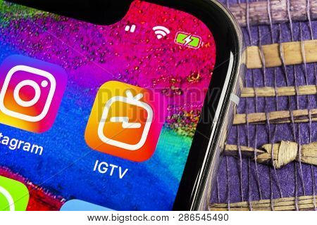 Helsinki, Finland, February 17, 2019: Apple Iphone X With Social Networking Service Igtv Instagram O