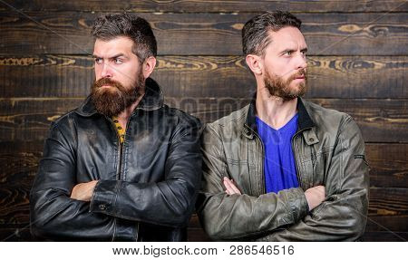 Men Brutal Bearded Hipster. Exude Masculinity. Confident Competitors Strict Glance. Masculinity Conc