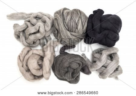 Hanks merino wool gray shades of color on a white background poster