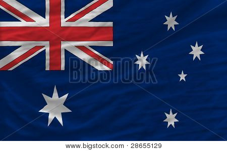 Complete Waved National Flag Of Australia For Background