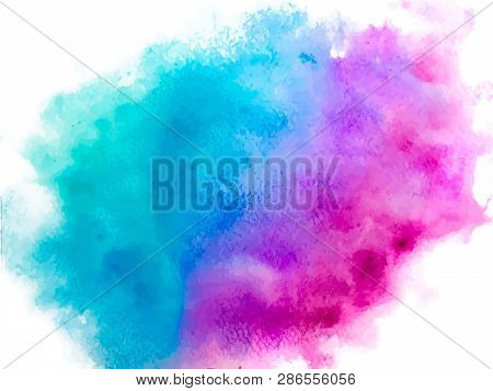 Colorful Abstract Vector Background. Soft  Blue Watercolor Stain. Watercolor Painting. Abstract Pain
