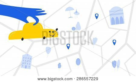 Taxi Service Hand Drawn Vector Color Illustration. Hand Holds Automobile Flat Drawing. Happy Vehicle
