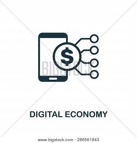 Digital Economy Icon. Creative Element Design From Fintech Technology Icons Collection. Pixel Perfec